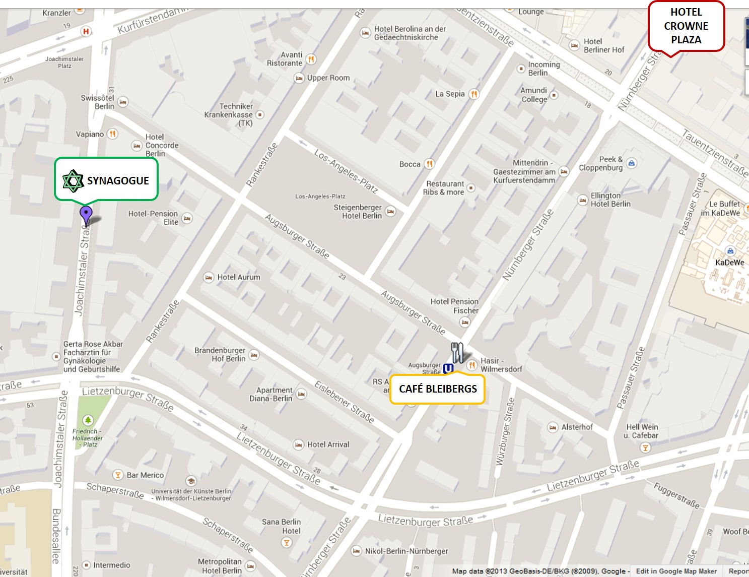 MAP OF CENTRAL ORTHODOX SYNAGOGUE BERLIN AREA